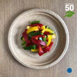 Assiettes biodégradables carton Kraft 17 cm. Par 50.