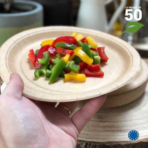 Assiettes biodégradables carton Kraft 22 cm. Par 50.