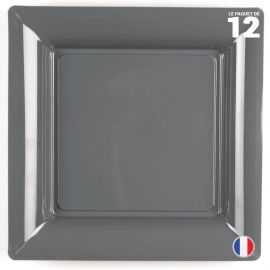 Assiette carrée gris ardoise. Recyclable - Réutilisable. Par 12