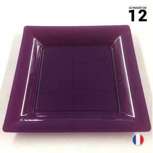 Assiette carrée aubergine. Recyclable - Réutilisable. Par 12