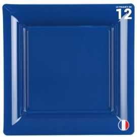 Assiette carrée Bleu marine. Recyclable - Réutilisable. Par 12