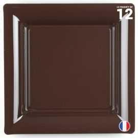 Assiette carrée chocolat. Recyclable - Réutilisable. Par 12
