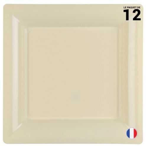 Assiette carrée ivoire. Recyclable - Réutilisable. Par 12