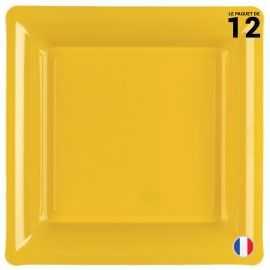Assiette carrée Jaune. Recyclable - Réutilisable. Par 12