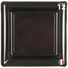 Assiette carrée noire. Recyclable - Réutilisable. Par 12