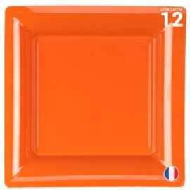 Assiette carrée orange. Recyclable - Réutilisable. Par 12