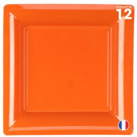 Assiette carrée orange. Recyclable - Réutilisable. Par 12