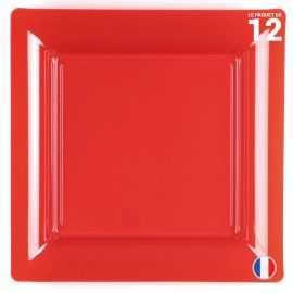 Assiette carrée rouge. Recyclable - Réutilisable. Par 12