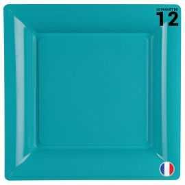 Assiette carrée turquoise. Recyclable - Réutilisable. Par 12
