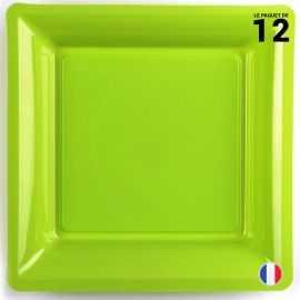 Assiette carrée vert anis. Recyclable - Réutilisable. Par 12