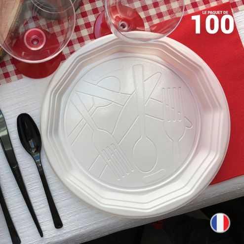 Assiettes rondes blanches design 22 cm. Recyclables. Par 100.