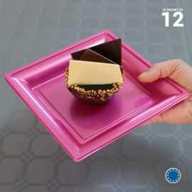 Assiette carrée style fuschia. Recyclable. Par 12