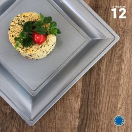 Assiette carrée Style Gris argent. Recyclable. Par 12