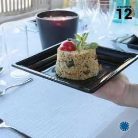 Assiette carrée style noire. Recyclable. Par 12