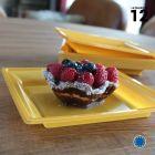 Assiette carrée style or mat. Recyclable. Par 12