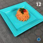 Assiette carrée style lagon. Recyclable. Par 12