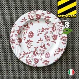8 Assiettes carton rouge 20 cm. Biodégradables et compostables.