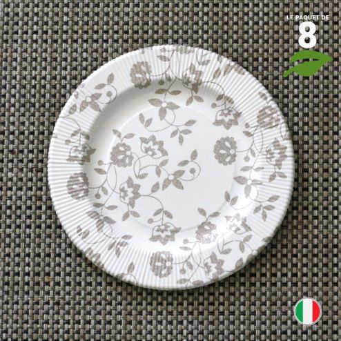 8 Assiettes carton taupe 20 cm. Biodégradables et compostables.