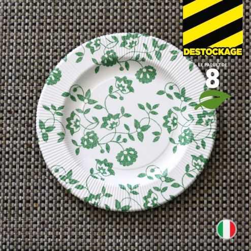 8 Assiettes carton vert 20 cm. Biodégradables et compostables