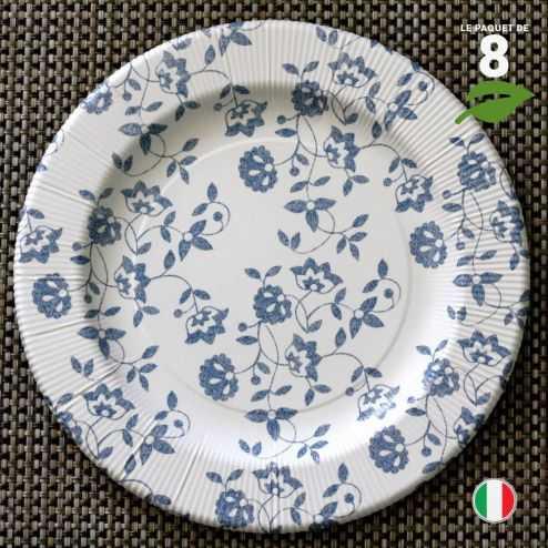 8 Assiettes carton bleu 26 cm. Biodégradables et compostables.
