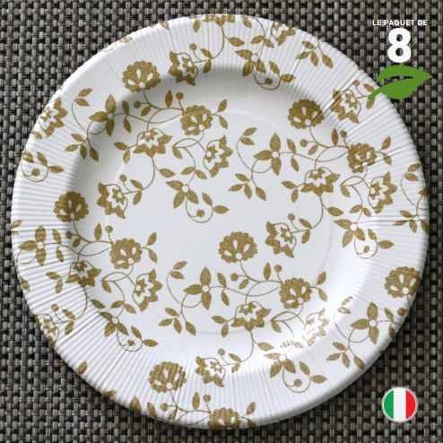 8 Assiettes carton Or 26 cm. Biodégradables et compostables.