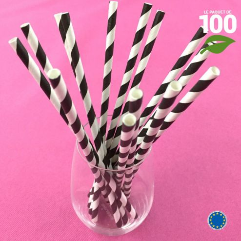 100 Pailles papier torsadées noires et blanches.