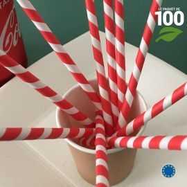 100 Pailles papier torsadées blanches et rouges.