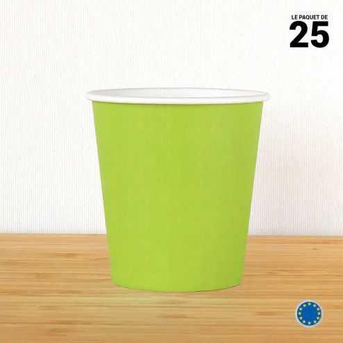 Gobelet carton vert anis 21 cl. Recyclable. Par 25.