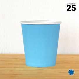 Gobelet carton turquoise 21 cl. Recyclable. Par 25.