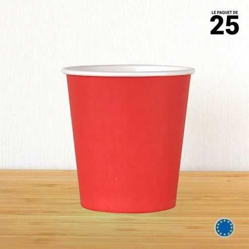 Gobelet carton rouge 21 cl. Recyclable. Par 25.