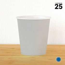 Gobelet carton gris 21 cl. Recyclable. Par 25.