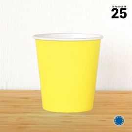 Gobelet carton jaune 21 cl. Recyclable. Par 25.