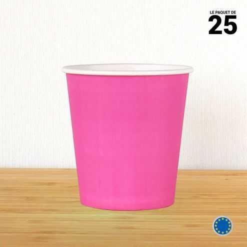 Gobelet carton fuchsia 21 cl. Recyclable. Par 25.