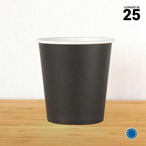 Gobelet carton noir 21 cl. Recyclable. Par 25.