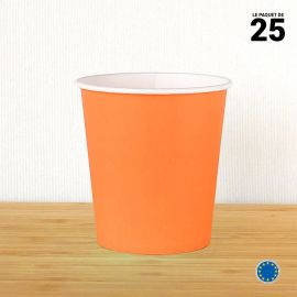 Gobelet carton mandarine 21 cl. Recyclable. Par 25.