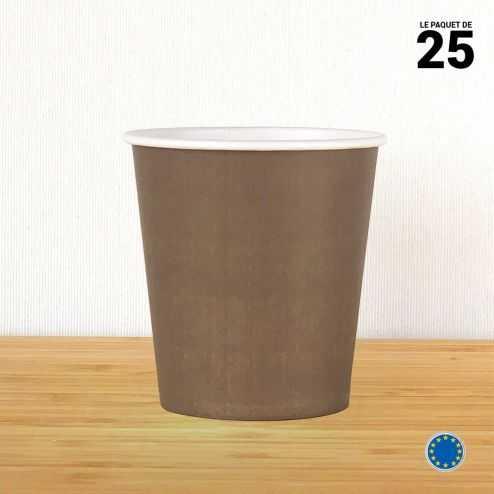 Gobelet carton chocolat 21 cl. Recyclable. Par 25.