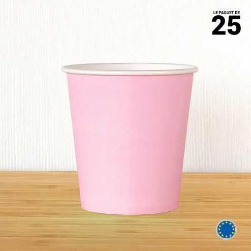 Gobelet carton rose 21 cl. Recyclable. Par 25.