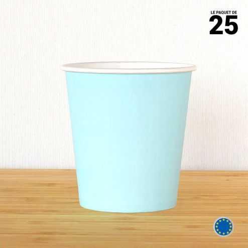Gobelet carton bleu pastel 21 cl. Recyclable. Par 25.