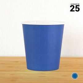 Gobelet carton bleu marine 21 cl. Recyclable. Par 25.