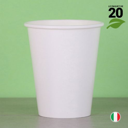 20 Gobelets blancs 25 cl. Biodégradables et compostables.