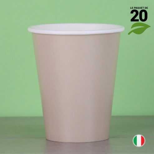 20 Gobelets taupe 25 cl. Biodégradables et compostables.