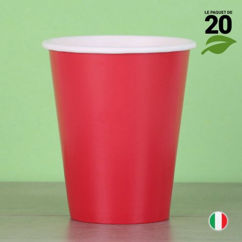 20 Gobelets rouges 25 cl. Biodégradables et compostables.