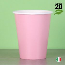 20 Gobelets roses 25 cl. Biodégradables et compostables.