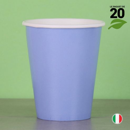 20 Gobelets bleus 25 cl. Biodégradables et compostables.