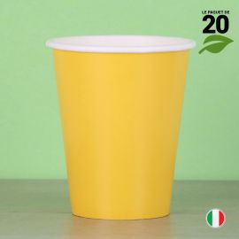 20 Gobelets jaunes 25 cl. Biodégradables et compostables.