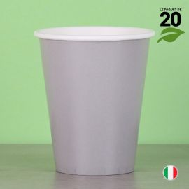 20 Gobelets gris 25 cl. Biodégradables et compostables.