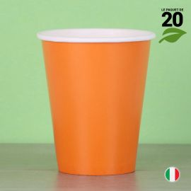 20 Gobelets orange 25 cl. Biodégradables et compostables.