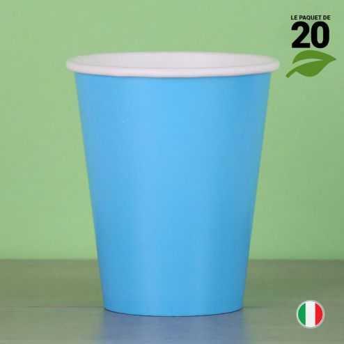 20 Gobelets turquoise 25 cl. Biodégradables et compostables.