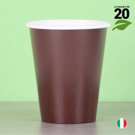 20 Gobelets chocolat 25cl. Biodégradables et compostables.