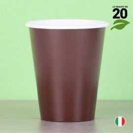 20 Gobelets chocolat 25cl. Biodégradables et compostables.
